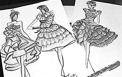服装设计图纸手绘婚纱展示